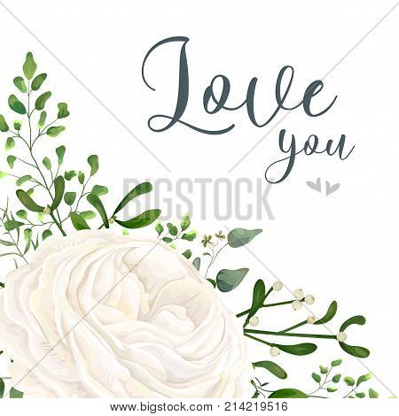 Vector floral card design: garden white creamy Ranunculus flower green Eucalyptus greenery fern mistletoe leaves & berry bouquet. Wedding vector invitation greeting. Watercolor style cute template
