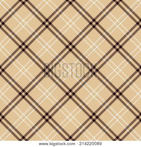 Tartan Seamless Pattern Background. Camel Beige Black and White Plaid Tartan Flannel Shirt Patterns. Trendy Tiles Vector Illustration for Wallpapers.