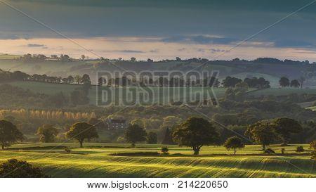 Hazy Sunrise over Countryside in United Kingdom