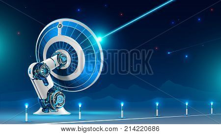 A large satellite dish broadcast radio signal into the night sky in the mountains. The technology of global satellite television and the Internet. Future concept