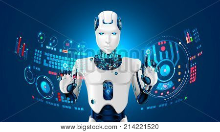 Robot humanoid works with a virtual HUD interface in augmented reality. Robot with a plastic face presses button on virtual keyboard and working with virtual holographic interface. Future concept.
