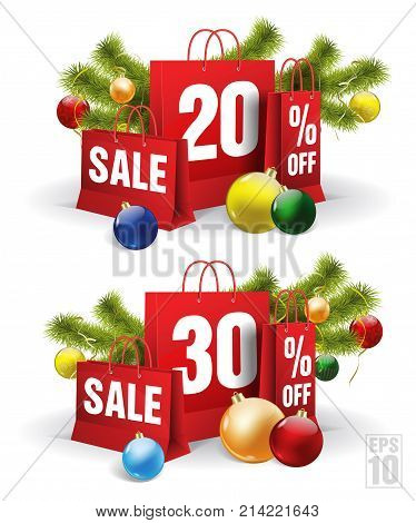 christmas shopping bag printed with a twenty and thirty discount