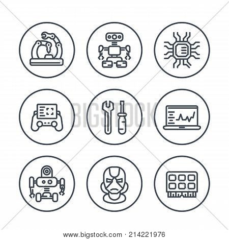 Robotics, mechanical engineering, robots, microelectronics line icons in circles