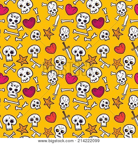 pattern with skulls and hearts, bones and daggers, colorful seamless background