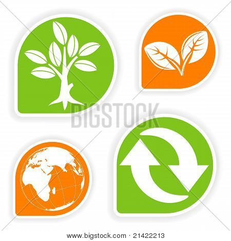 Collect sticker with environment icon tree leaf Earth and Recycling Symbol vector illustration poster