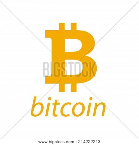 Vector bitcoin simple flat emblem isolated on white background. Digital currency symbol. Cryptocurrency sign. Stock market logo design. poster