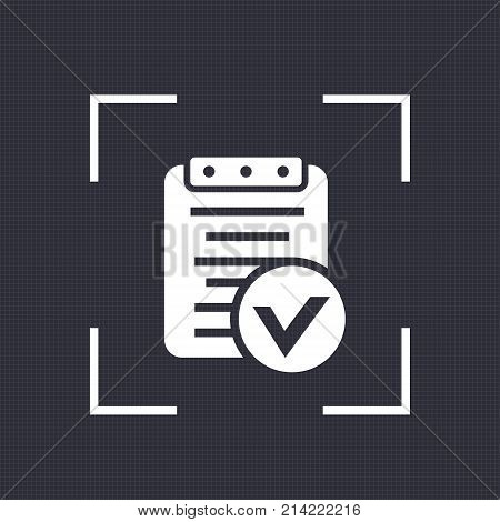 valid document, report icon, approved contract, eps 10 file, easy to edit