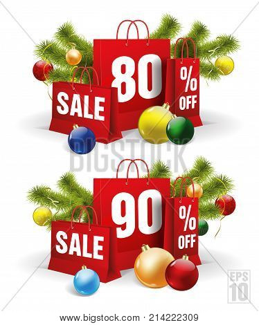 christmas shopping bag printed with a twenty and thirtyeighty and ninety discount