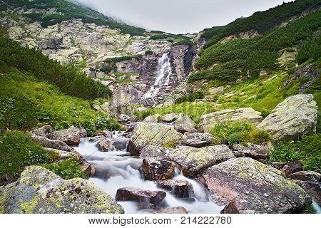 Sky fog mountain river and knee timber at the waterfall Skok in Vysoke Tatry Slovakia.