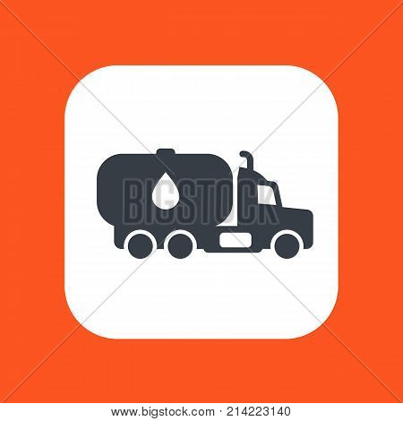 Gasoline tanker, truck with petroleum vector icon over white