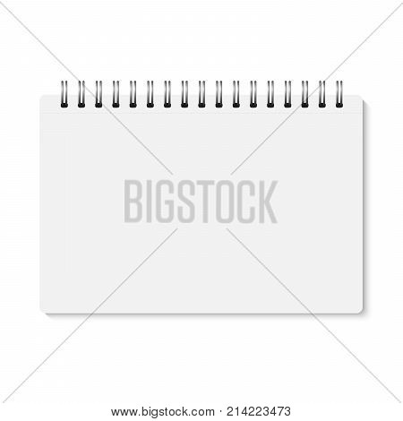 Vector white realistic closed spiral bound notebook. Horizontal blank copybook with metallic silver spiral. Template (mock up) of organizer or diary isolated. Notepad. A5