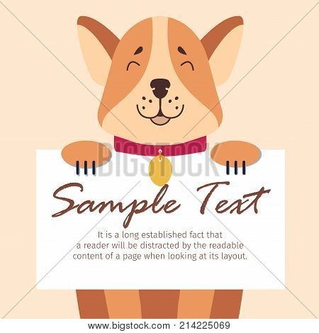 Funny Akita-inu holds sheet of paper for sample text on beige background. Happy pedigree dog with red collar and golden metal sign. White card in dog s paws. Vector illustration graphic design.