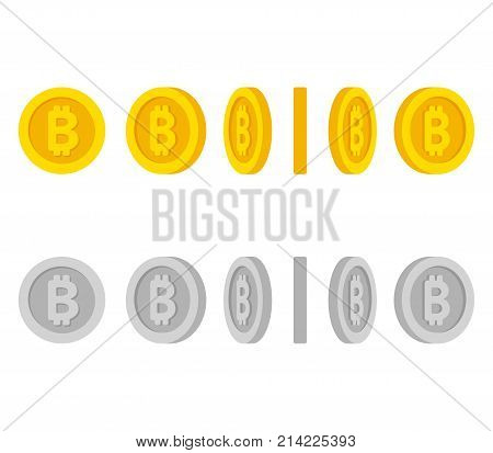 Flat cartoon gold and silver coins with Bitcoin symbol. Set of icons at different angles spinning coin animation frames. Isolated vector illustration.