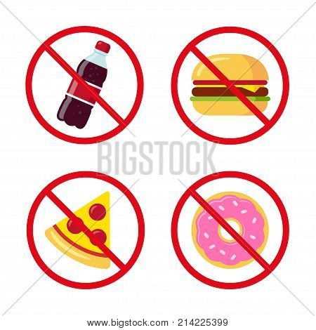 No junk food icons: sugary soda drink burger pizza and donut. Crossed prohibition circles on separate layer. Healthy dietary habits vector illustration.