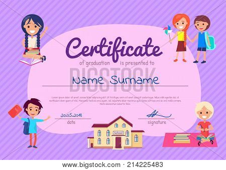 Certificate of graduation poster with students. Vector illustration of school, boys and girls with books and backpacks on striped purple background