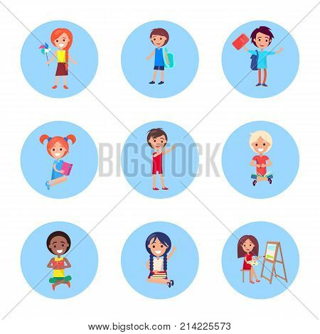 Schoolchildren with accessories for studying set of vector illustrations in round buttons isolated on white. Happy pupils in back to school concept