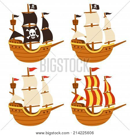 Cartoon tall ship illustration set. Pirate ship with Jolly Roger flag and black sails and traditional sailboats. Isolated vector drawing.