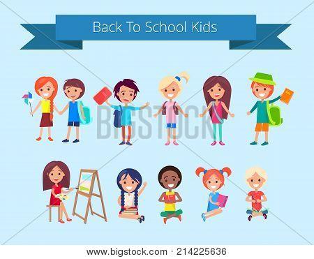 Back to school kids isolated vector illustration with inscription on light blue background. Joyful children during classes or on break