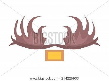 Broad flat antlers of male moose above light brown-and-yellow square isolated vector illustration on white background in cartoon style
