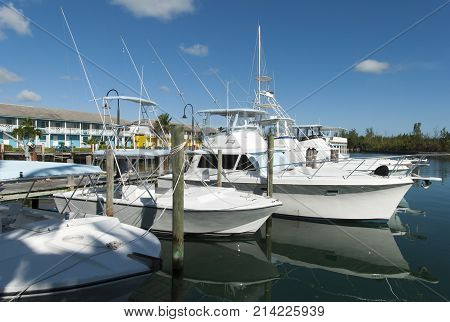 The marina in Port Lucaya the resort district in Freeport town on Grand Bahama Island.