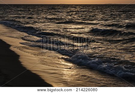The beach at sunset on the island of Kos