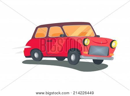 Icon of red retro two-door station wagon with round headlights isolated vector illustration on white background. Angled view car in cartoon style