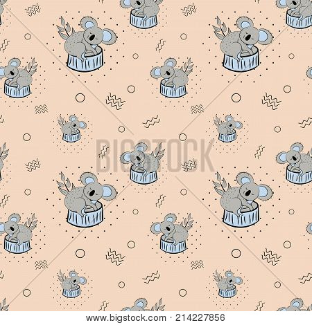 Cute bear koala doodle seamless pattern. Vector background with koalas can be used for baby textile, tshirt, wallpapers, posters and more