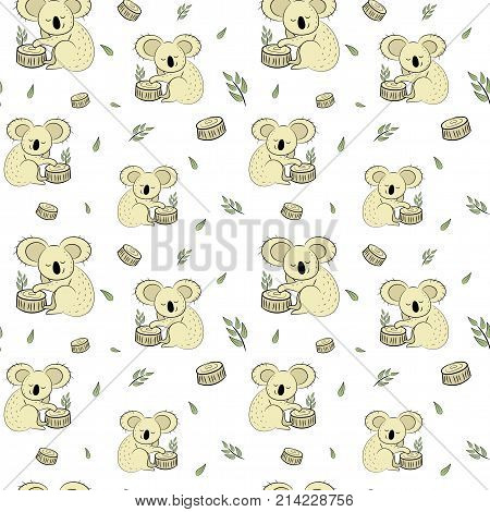 Cute Bear Koala Doodle Seamless Pattern. Vector Background With Koalas Can Be Used For Baby Textile,