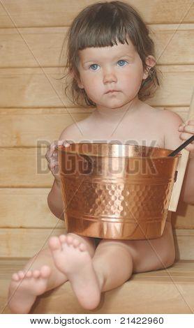 Portrait of baby in bath