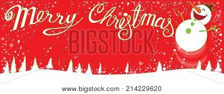Merry Christmas Background landscape red and snow man to smiling and jumping happiness vector cartoon acting design have word my font and copy space and split layer.