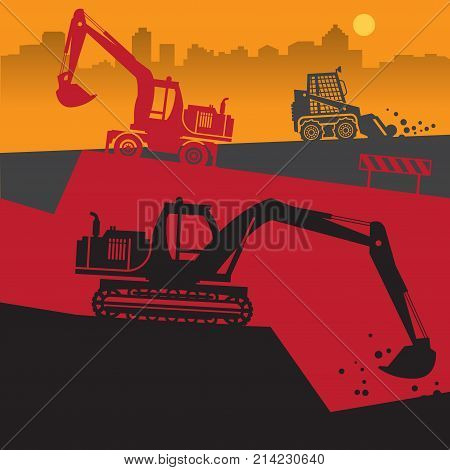 Tractors on work at construction site. Tractor grader excavator silhouette vector illustration