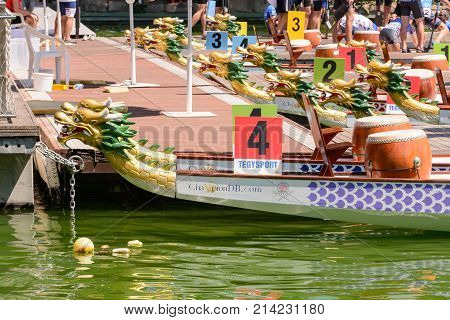 Rome Italy - July 30 2016: Dragon boat crews compete at the european championships held in Italy in 2016 summer details of the boats