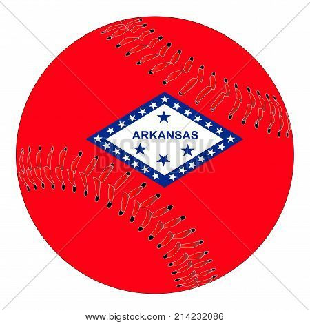 A new white baseball with red stitching with the Arkansas state flag overlay isolated on white