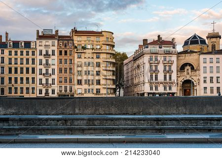 Lyon France -- November 5 2017 -- Apartments and other structures on the banks of the Saone River in Lyon France. Editorial use only.