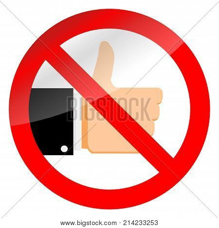Stop like sign and ban social media. Vector no thumb up in internet symbol illustration