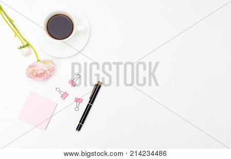 Workplace girl with a cup of coffee. Mockup