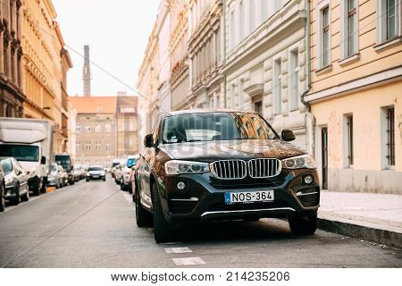Prague, Czech Republic - September 23, 2017: Front View Of Black BMW X6 F16 Car Parked In Street. Car Of Second Generation