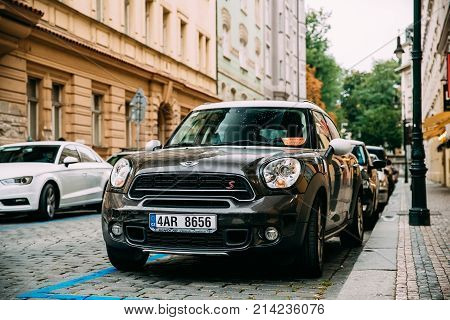 Prague, Czech Republic - September 24, 2017: Front View Of Black Mini Cooper Countryman S All4 Sd Car With 2.0 Litre Turbodiesel Engine Parked In Street. Car Of Second Generation