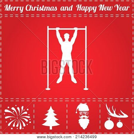 Pullups Icon Vector. And bonus symbol for New Year - Santa Claus, Christmas Tree, Firework, Balls on deer antlers