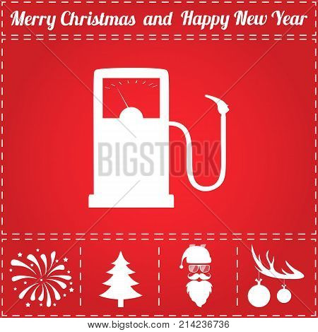 Gas station Icon Vector. And bonus symbol for New Year - Santa Claus, Christmas Tree, Firework, Balls on deer antlers