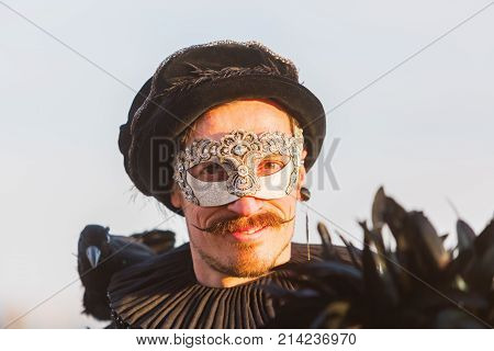 Disguised Man At The Carnival Of Venice