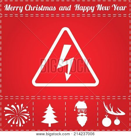 Electrocution Icon Vector. And bonus symbol for New Year - Santa Claus, Christmas Tree, Firework, Balls on deer antlers