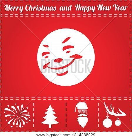 Smile Icon Vector. And bonus symbol for New Year - Santa Claus, Christmas Tree, Firework, Balls on deer antlers