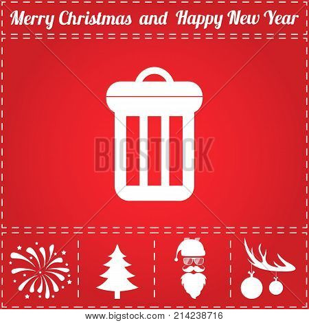 Trash bin Icon Vector. And bonus symbol for New Year - Santa Claus, Christmas Tree, Firework, Balls on deer antlers