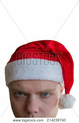 Head of tired wicked Santa Claus isolated on the white background