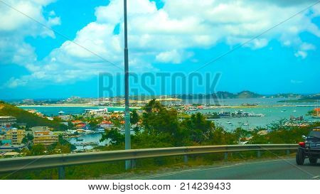 The view of the island of St. Maarten on a sunny day from road