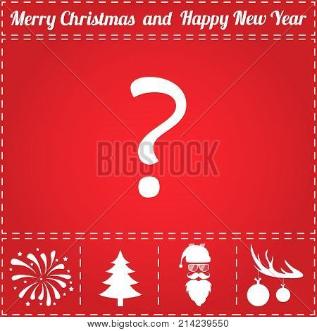 Query Icon Vector. And bonus symbol for New Year - Santa Claus, Christmas Tree, Firework, Balls on deer antlers