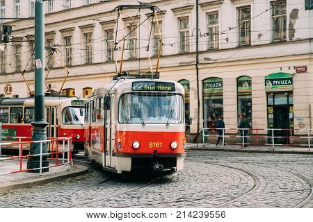 Prague, Czech Republic - September 22, 2017: Public Old Retro Tram With Number Of Twenty Two Route Moving On Street.
