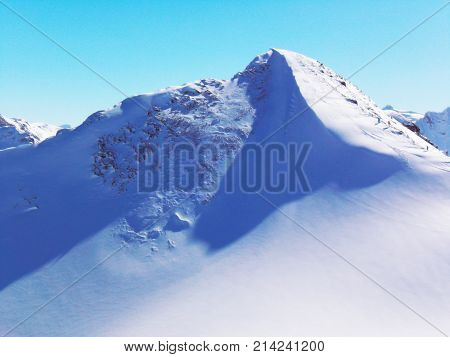 Views of snow capped mountains of Dombay. Winter Sunny day. mountain range