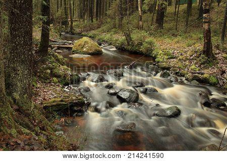 cascade fast forest river picturesque landscape long exposure